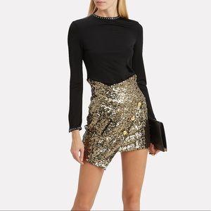Redemption gold sequin asymmetrical Mini skirt
